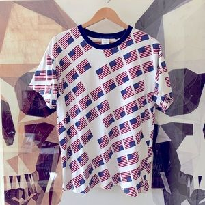 Urban Outfitters American flag graphic ringer tee